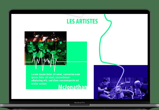 Photo d'un ordinateur. Dans l'écran, on voit la partie présentation des artistes du site, avec des images des groupes et des textes de présentations.