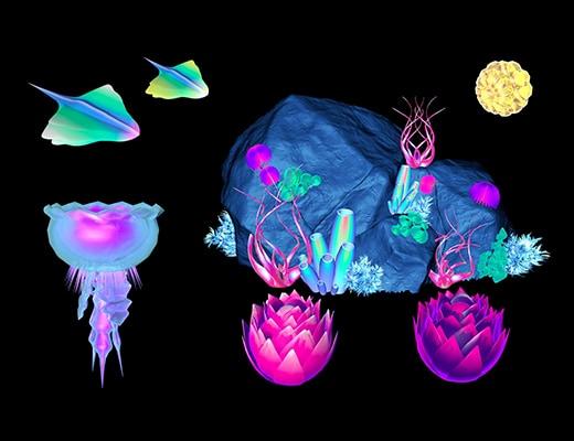 Capture isolée des formes en 3D d'éléments de la faune et la flore d'Abyss. Il y a une méduse bleue et rose, des petites raies manta vertes, jaune et bleues, avec 4 ailerons. Il y a aussi un rocher avec des plantes du type coraux dessus, le tout avec des couleurs vives, voir fluos.