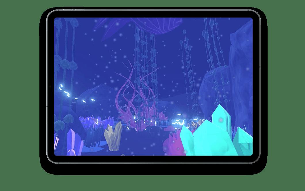 Tablette avec vue sur l'écran. Dans l'écran, on voit le monde d'Abyss, un monde sous-marin fantastique, fond bleu, une baleine et diverses plantes aquatiques