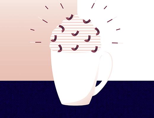 Illustration d'une tasse de chocolat chaud avec de la chantilly