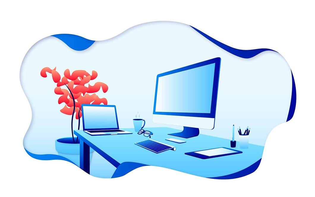 Illustration vectorielle d'un bureau, avec un ordinateur portable, un ordinateur fixe, et une plante derrière le bureau. La gamme colorée de l'illustration est composée de plusieurs nuances de bleu, et d'un rouge orangé.