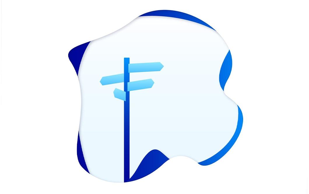 Illustration vectorielle, représentant des panneaux d'indications. La gamme colorée de l'illustration est composée de plusieurs nuances de bleu.