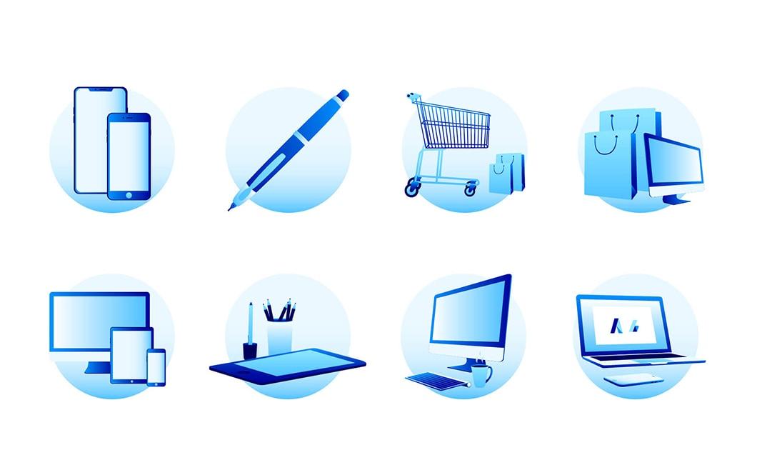 Planche de 8 petites illustrations vectorielles, placée dans des cercles. La gamme colorée des illustrations est composée de plusieurs nuances de bleu. Dans l'ordre, on trouve les illustrations suivantes : 2 smartphones, un stylo plume, un cadie de course avec des sacs, un ordinateur et des sacs de courses, un ordinateur avec une tablette et un smartphone, une tablette graphique et son stylet, un ordinateur fixe, un ordinateur portable avec un smartphone.