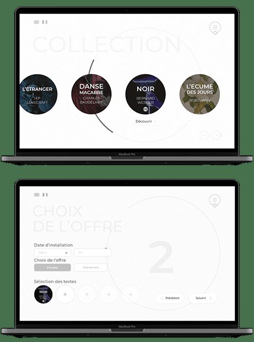 Il y a 2 ordinateurs. Dans les écrans, on voit des captures du site promotionnel de Act. La première page présente la collection d'adaptation. La seconde montre un questionnaire de choix de l'offre Act pour les organismes.