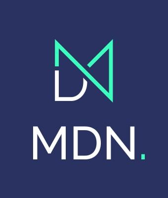 Logo MDN sur fond bleu marine, avec la mention MDN soous le sigle. Le sigle est un mélange des 3 lettres du nom de l'agence. Il est vert fluo et blanc.