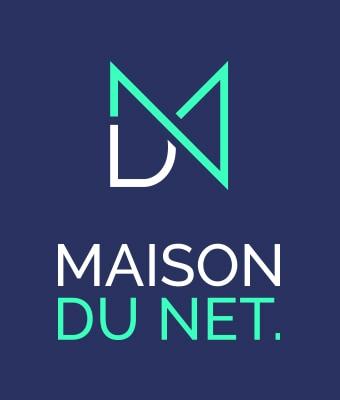 Logo MDN sur fond bleu marine, avec la mention Maison du Net sous le sigle. Le sigle est un mélange des 3 lettres du nom de l'agence. Il est vert fluo et blanc.