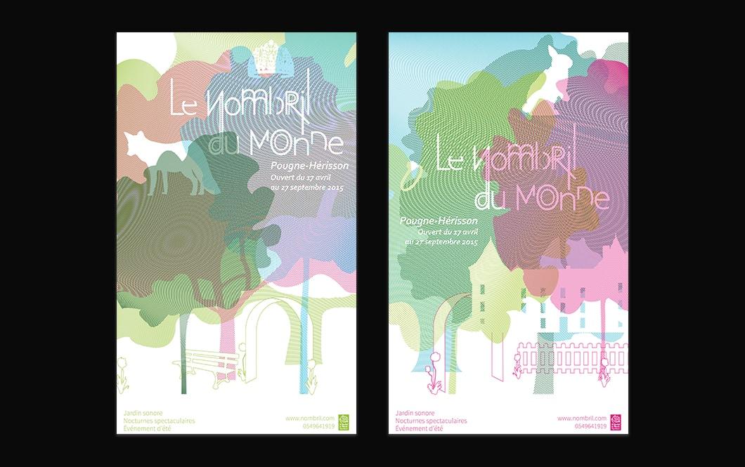 Deux affiches pour le Jardin Sonore du Nombril du Monde. Les visuels des affiches sont composés d'arbres créés à partir de trames colorées, formant des moirages lorsqu'elles se superposent. Au millieu de ces trames, on aperçoit des formes blanches rappelant l'univers du conte. Le nom de l'association et les dates d'ouvertures sont écrites en blanc au milieu des trames. En bas des affiches, au niveau des tronc des arbres, l'espace est plus dégagé, on retrouve plus le côté jardin. L'affiche de droite est dans les tons verts foncés et clairs, le bleu avec une touche de rose, on aperçoit des formes de loup, couronne et citrouille au milieu des trames. En bas de l'affiche, en vert, il y a des illustrations de fleurs, un banc et une arche. Sur l'affiche de droite, on a une majorité de vert clair et de rose, avec une pointe de bleu. On aperçoit des formes blanches de lapin, de bague et un chateau. La partie jardin est en rose, composée de fleurs, d'une arche et d'une barrière.
