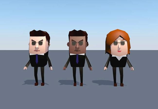 Gros plan sur la modélisation d'agent du FBI, dans un style Low Poly. Il y a 3 agents, tous habillés en costume noir avec des lunettes, mais de différents genres et couleurs de peau.