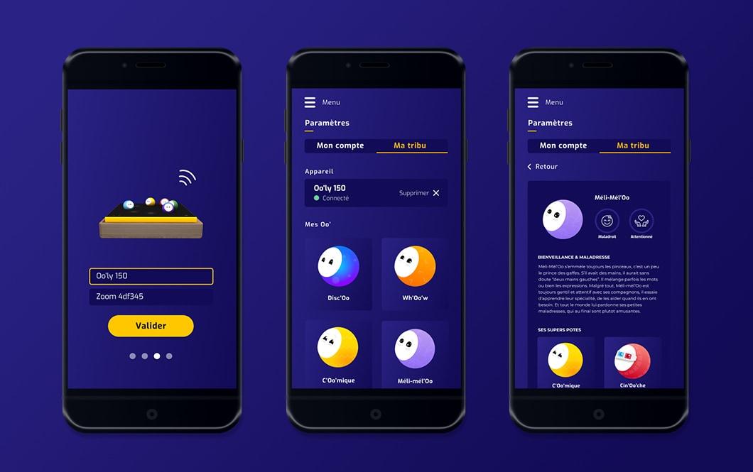 Sur fond bleu, sont placés 3 smartphones, présentant l'application Oo'ly. Dans l'écran 1, on voit l'écran de connexion d'Oo'ly à la wifi. Dans les écrans 2 et 3, on voit le récapitulatif de la tribu de Oo' de l'utilisateur, avec la liste des Oo', et quand on tape sur l'un, ses caractéristiques s'affichent.