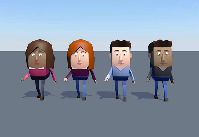 Gros plan sur la modélisation de civils en train de marcher, dans un style Low Poly. Il y a 4 civils, de différents genres et couleurs de peau.