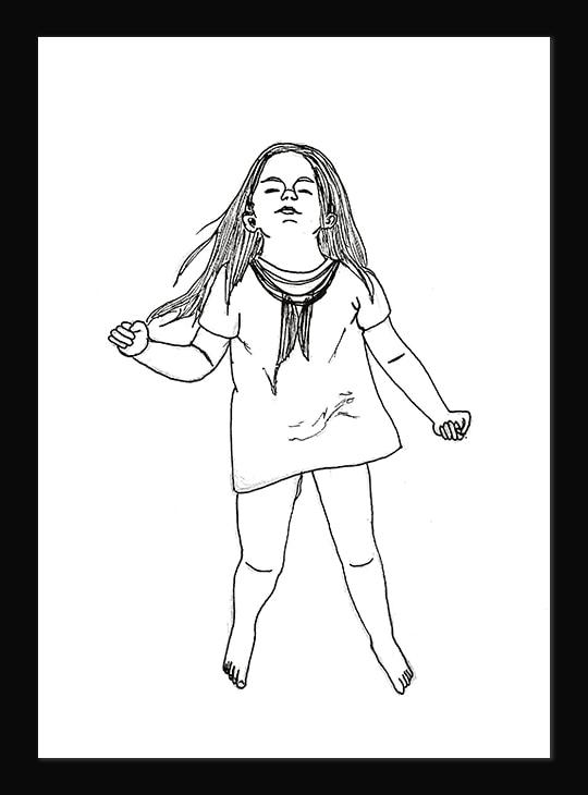 Illustration au trait d'une jeune fille aux cheveux longs en train de danser.