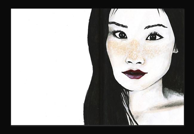 Portrait de Lucy Liu, à l'encre et à la gouache. Seules les lèvres et tâches de rousseurs sont en couleur.