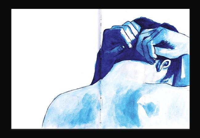 Illustration à l'aquarelle d'un homme de dos, en gros plan sur sa tête et ses épaules. Il baisse la tête en avant, et la tient dans ses mains. L'ensemble de l'illustration est dans des teintes bleues.