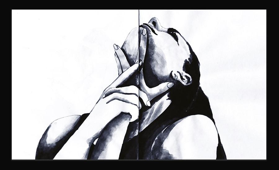 Illustration à l'encre d'une femme. Il s'agit d'un gros plan de sa tête et de ses épaules. Elle a la tête en arrière, et les mains sur le cou.