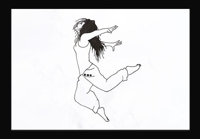 Illustration au trait d'une femme en train de sauter en avant. Elle a les bras en arrière et la tête relevée.