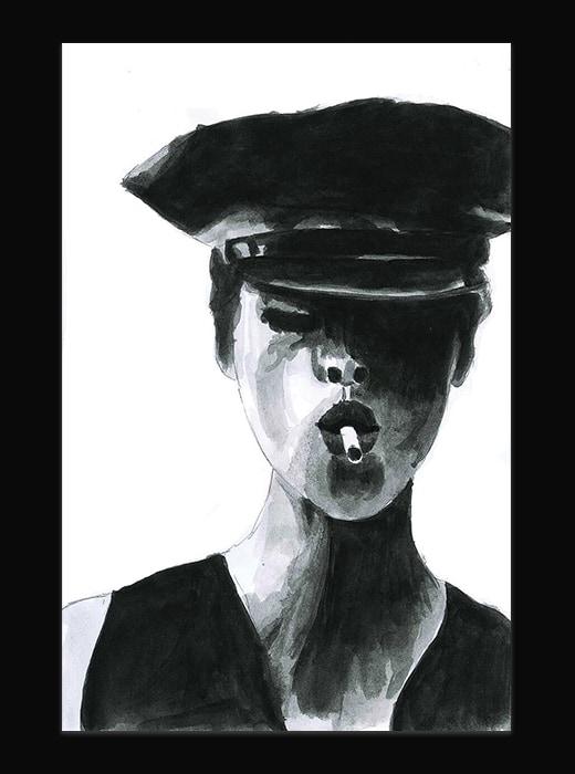 Portrait d'une femme, illustration à l'encre. Elle porte un képi et fume une cigarette.