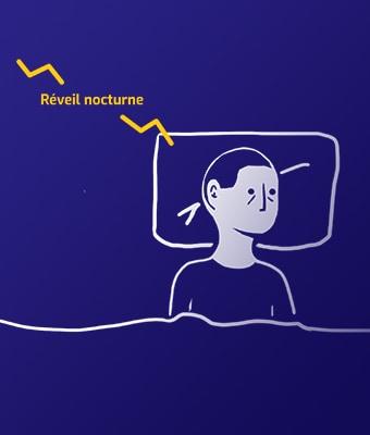 Sur fond bleu foncé, illustration au trait blanc, d'une personne allongée dans un lit, mais qui ne dort pas. En jaune, il est écrit