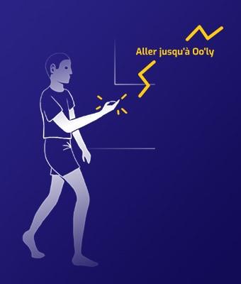 Sur fond bleu foncé, illustration au trait blanc, d'une personne qui marche avec quelque chose dans la main. Il est écrit en jaune
