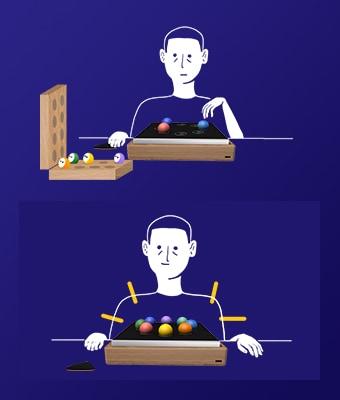 Sur fond bleu foncé, 2 illustrations au trait blanc avec des vues 3D. La première montre une personne devant le boîtier Oo'ly, qui prend des Oo' dans une boite en bois pour les placer sur le boîtier. La seconde reprend la même personne, devant le boîtier Oo'ly rempli de Oo'.