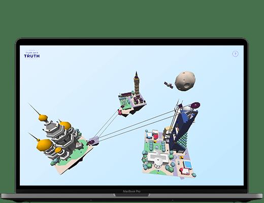 Photographie d'un ordinateur. Dans l'écran, on peut voir la scène 3D de Truth isn't Truth, avec la scène complète (les 3 îlots et la Lune), flottant dans un ciel bleu.