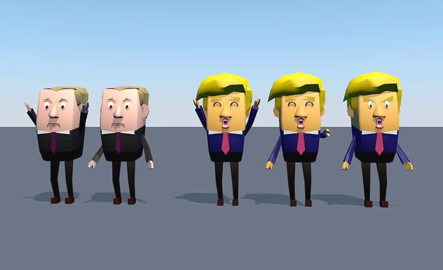 Gros plan sur la modélisation de Donald Trump et de Vladimir Poutine, dans un style Low Poly. Il y a plusieurs versions de chaque personnages, en fonction des émotions qu'ils ressentent. Il y a un Donald Trump heureux, qui souri et lève les bras au ciel, un autre qui souri en désignant quelque chose, et un dernier en colère. Pour Vladimir Poutine, le visage ne change pas, mais il y a une version avec les bras en l'air.