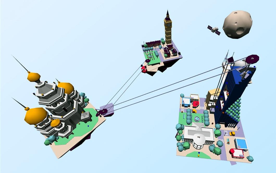 Vue de la scène 3D complète de Truth isn't Truth, dans un style Low Poly, avec les 3 îlots (USA, Angleterre et Russie) et la Lune, flottant dans un ciel bleu.