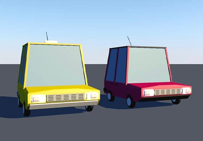 Vue de deux modèles 3D de voiture, dans un esprit Low Poly. La première est jaune, c'est un taxi, la seconde est rouge.